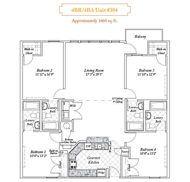 4 bedroom apartments floorplan