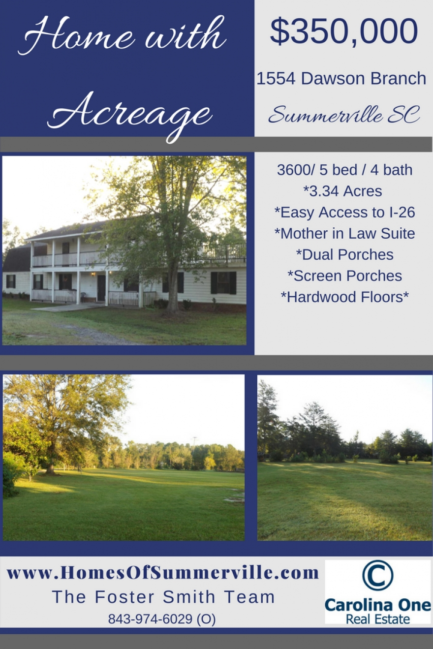 Summerville Home with Acreage for Sale!
