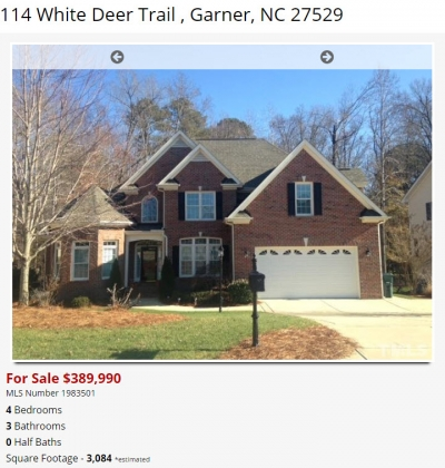 114 White Deer Trail Garner NC - Custom brick Home for Sale