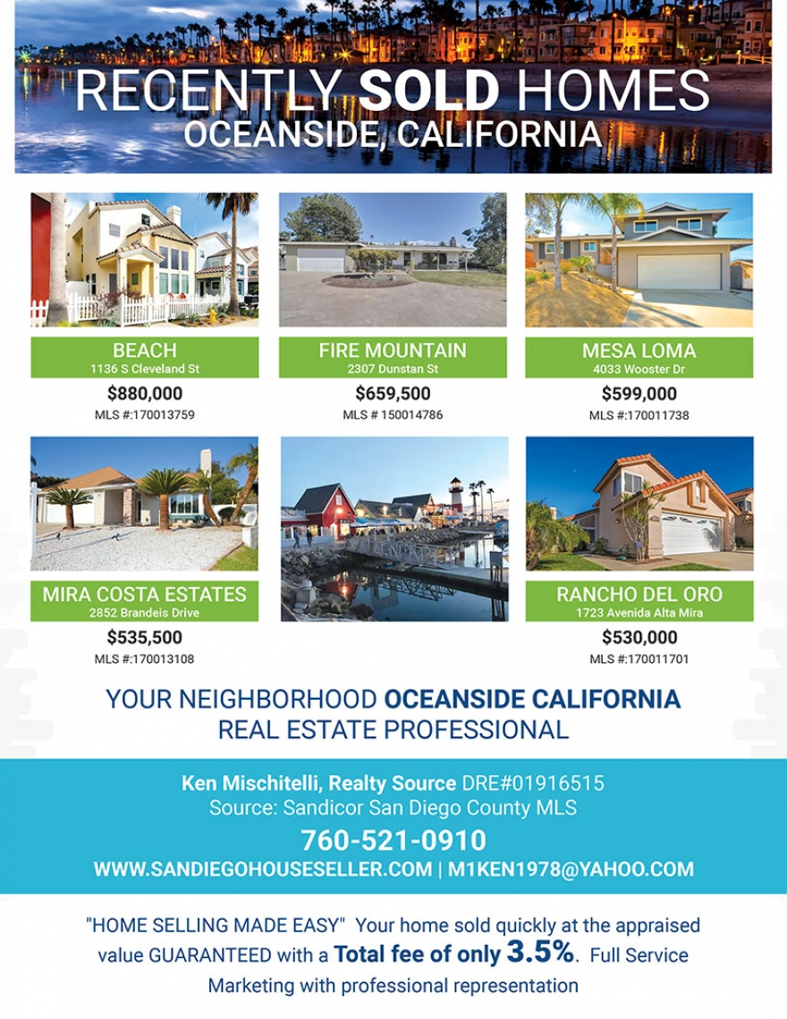 Oceanside California SOLD HOMES