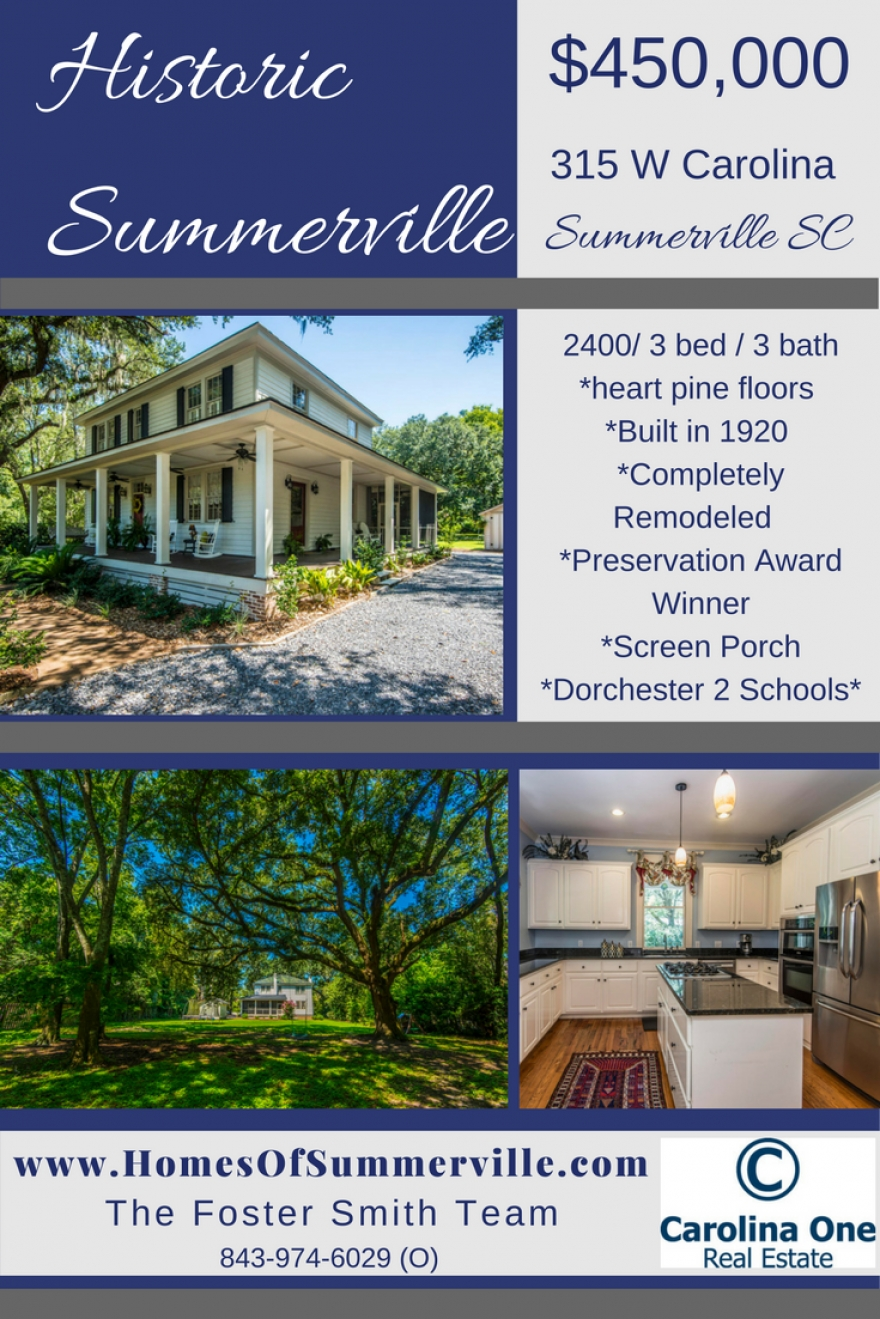 Beautifully Restored Historic Home for Sale in Summerville, SC