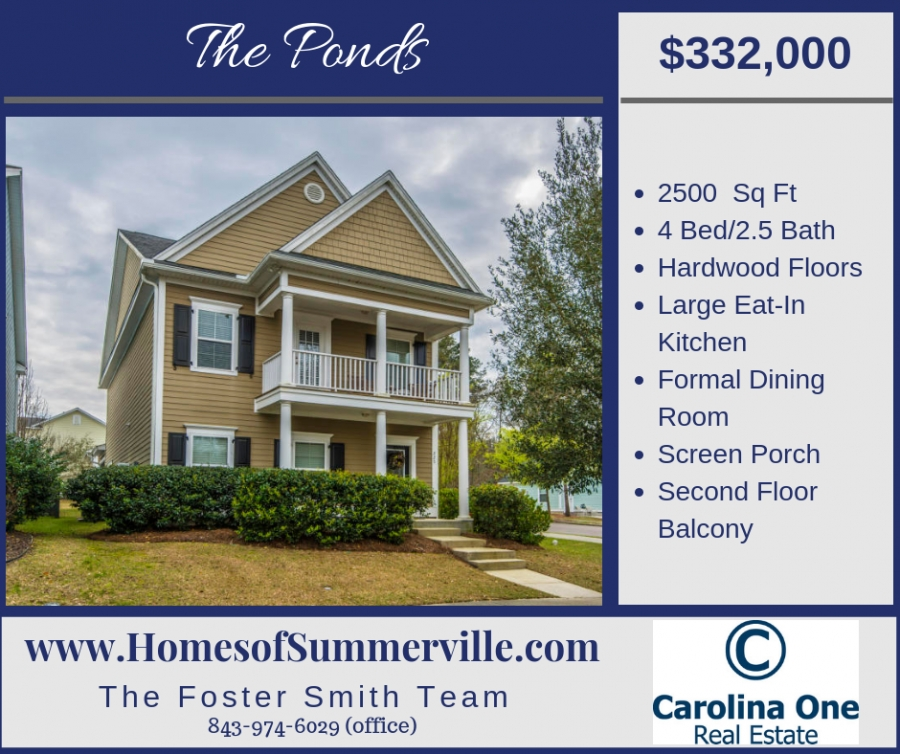 Beautiful Home For Sale in The Ponds in Summerville, SC
