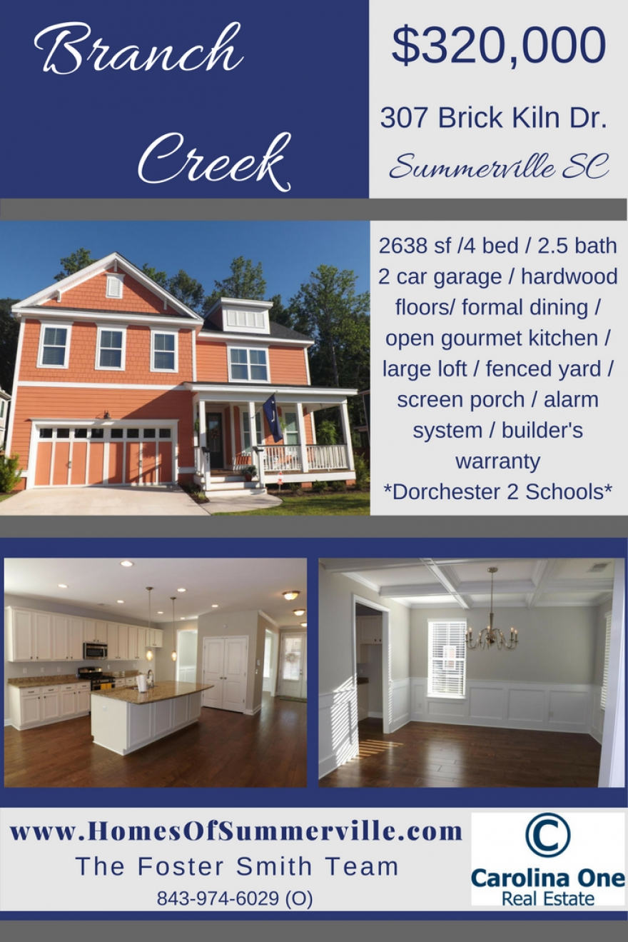 Beautiful Branch Creek Home for Sale in Summerville, SC