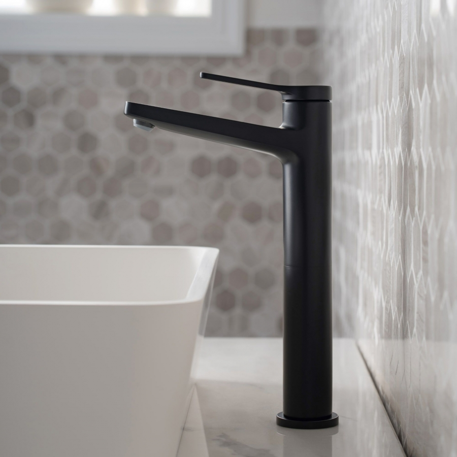 Incorporate black faucets in the bathroom for a different interior feel