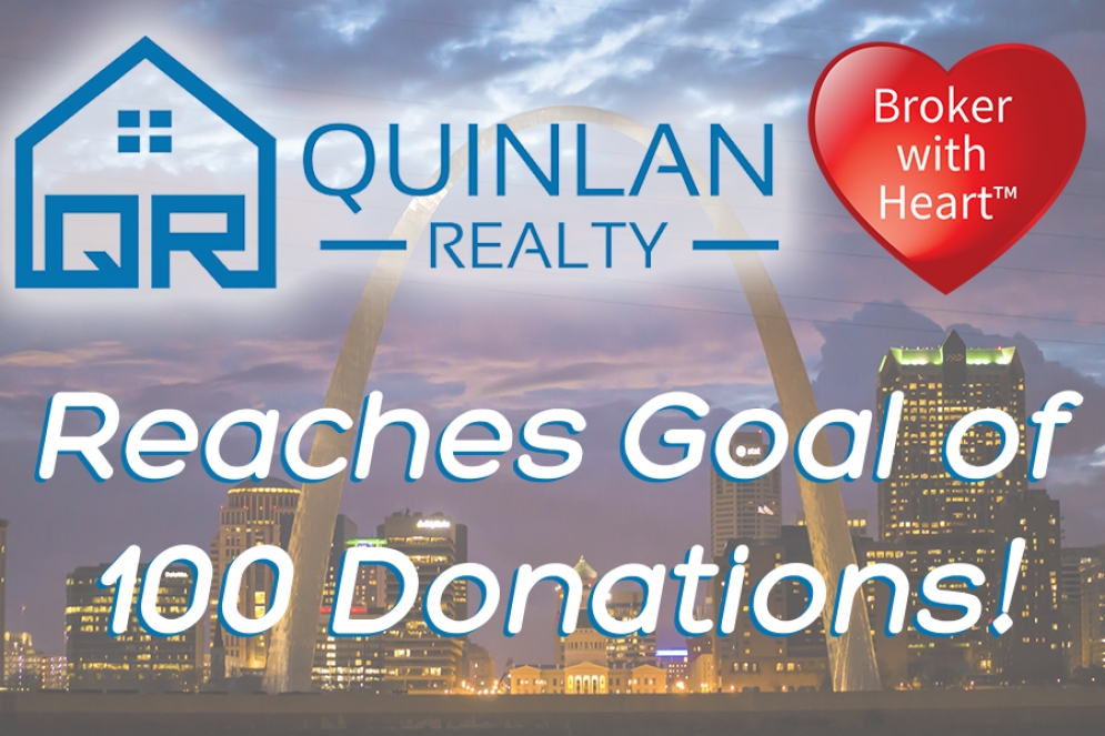 Quinlan Realty Reaches Goal of 100 Donations Before Year's End