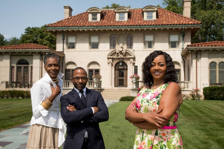 L to R: Betty Warmack of Real Estate One, Jason Hill of Historic Realty Detroit, Deborah Smith of Keller Williams Realty, in front of the historic Motown Mansion, formerly owned by Berry Gordy, at 918 West Boston Boulevard in Detroit's Boston-Edison District.