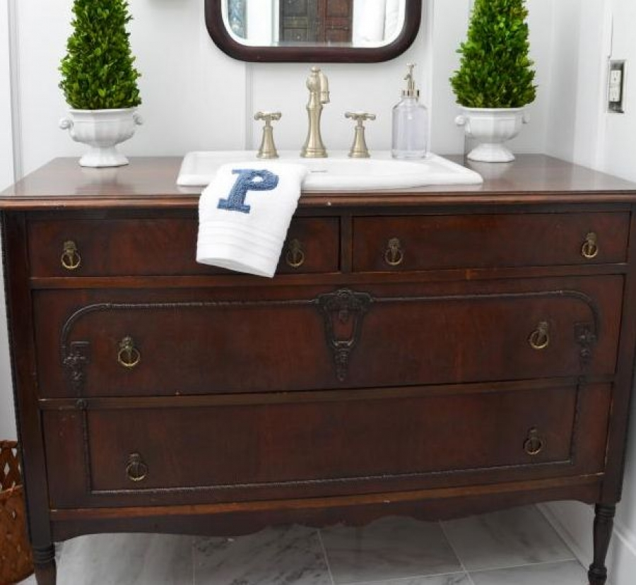 Trend Alert: Convert a Dresser or Vintage Desk Into a Unique Bathroom Vanity