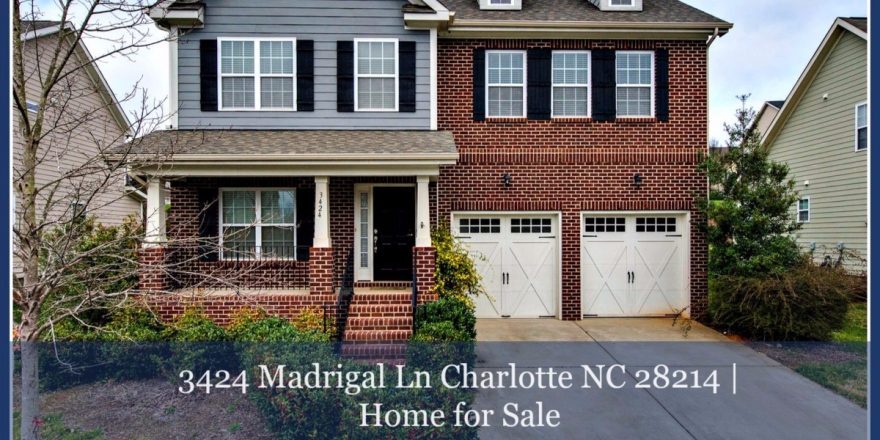 Relax and enjoy the partially wooded view from the  covered front porch of this home for sale in Charlotte NC.