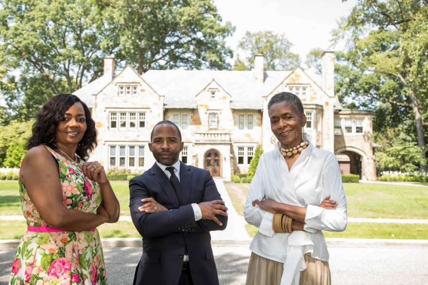 L to R: Jason Hill of Historic Realty Detroit, Deborah Smith of Keller Williams Realty, Betty Warmack of Real Estate One in front of the historic Motown Mansion, formerly owned by Berry Gordy, at 918 West Boston Boulevard in Detroit's Boston-Edison District.