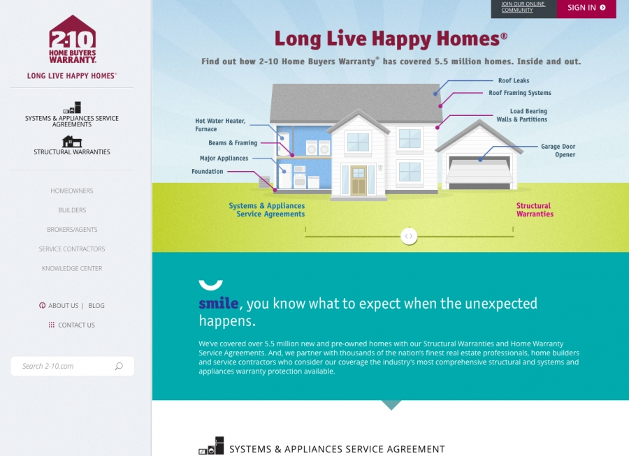 2-10 Home Buyers Warranty(R) Launches New Website: 2-10.com
